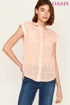 Oasis Pink Short Sleeve Grid Check Shirt