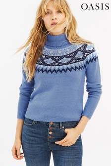 Oasis Blue Abigail Fairisle Pattern Jumper
