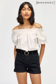 Warehouse White Broderie Anglais Ruched Top