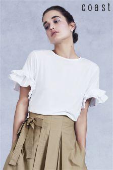 Coast White Ingrid Frill Sleeve T-Shirt