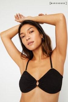 Warehouse Black Ring Crinkle Bikini Top