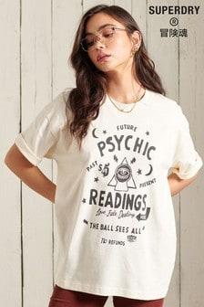 Superdry Cream Workwear Graphic Oversized T-Shirt