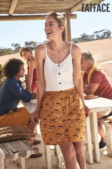 FatFace Yellow Margo Geo Monkeys Skirt