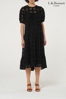 L.K.Bennett Black Rego Broderie Cotton Dress