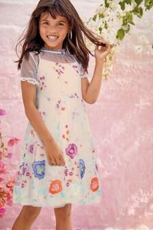 Vestido de malla bordado (3-16 años)
