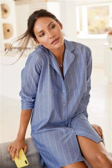 Sparkle Stripe Button Nightshirt