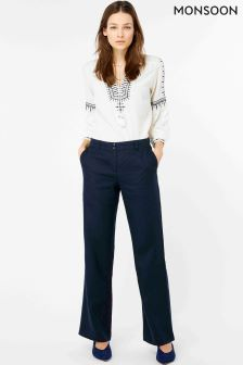 Monsoon Navy Penelope Short Linen Trouser