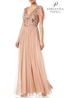 Adrianna Papell Rose Gold Cape Sleeve Embellished Evening Dr