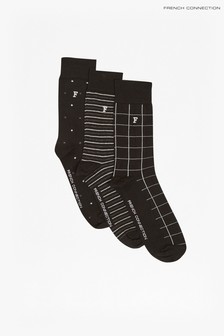 French Connection Black Waterfall Socks Three Pack