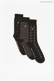 French Connection - Set van drie paar zwarte Waterfall sokken