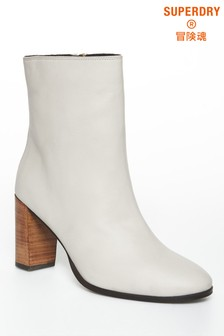 Superdry White High Heel Boots
