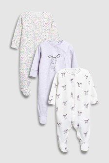 Delicate Bunny Sleepsuits Three Pack (0mths-2yrs)