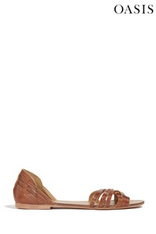 Oasis - Haurache - Bruine gevlochten sandaal