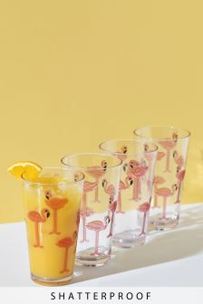 Set of 4 Flamingo Print Hi Ball Glasses