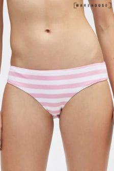 Warehouse Textured Stripe Bikini Bottom