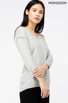 Monsoon Grey Vixie V-Neck Lace Insert Jumper