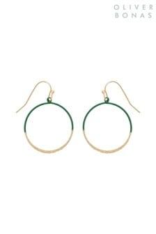 Oliver Bonas Green Nara Round Enamel Drop Earrings