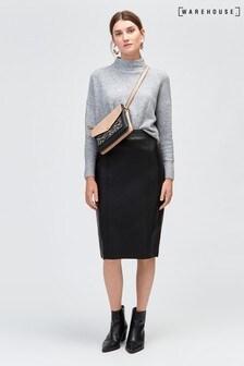 Warehouse PU Seamed Pencil Skirt Black