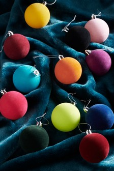 12 Pack Flocked Baubles
