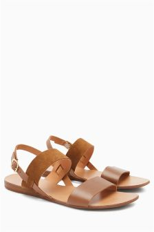 Leather Two Band Slingback Sandals
