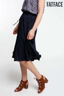 FatFace Blue Meghan Linen Blend Skirt