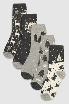 Forest Pattern Ankle Socks Five Pack