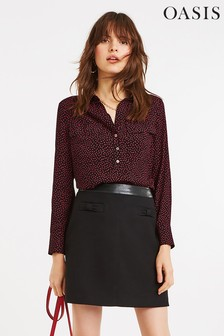 Oasis Red Crushed Spot Viscose Shirt