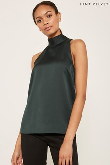 Mint Velvet Green Satin Tie Neck Top