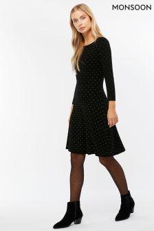 Monsoon Black Freja Sparkle Fit & Flare Dress