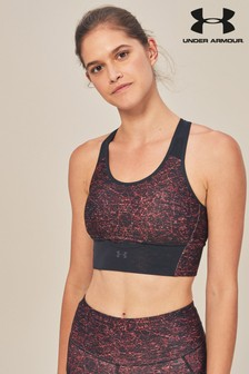 Under Armour Black/Red Print Crossback Bra