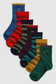 Embroidered Socks Seven Pack (Younger)