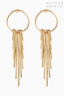 Oliver Bonas Gold Tone Aida Fine Circle And Fan Drop Earrings