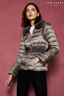Ted Baker Grey Faux Fur Collar Down Jacket