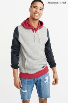 Abercrombie & Fitch Grey/Red Colourblock Hoody