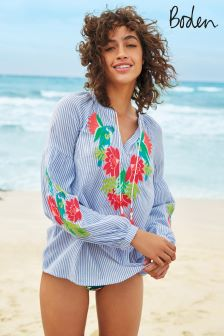 Boden Floral Parrot Embroidery Marla Embroidered Top