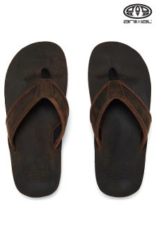 Animal Brown Jekyl Leather Flip Flop