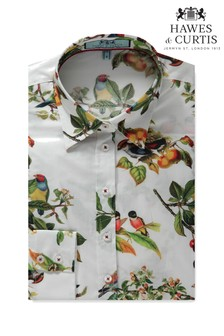 Hawes & Curtis Blue Bird Print Semi Fitted Shirt