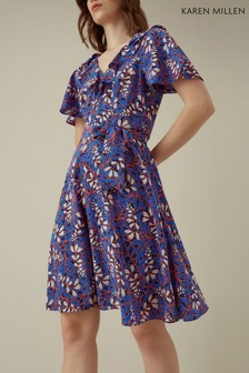 Karen Millen Blue Foxglove Floral On Silk Collection Dress