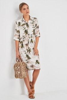 Utility Drawstring Shirt Dress