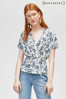 Warehouse Navy Pattern Willow Print Twist Front Top