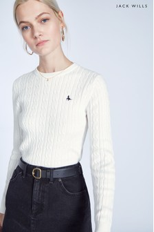 Jack Wills Vintage White Tinsbury Classic Cable Crew