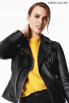 Karen Millen Yellow Jumbo Button Jumper