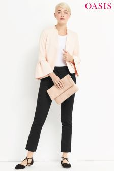 Oasis Cotton Black Compact Trouser