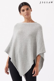 Jigsaw Pale Grey Wool Cashmere Blend Rolled Poncho