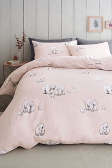 Brushed Cotton Polar Bear Duvet Cover And Pillowcase Set