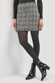 Button Front Check Mini Skirt