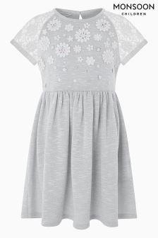 Monsoon Grey Lucie Lace Crochet Dress