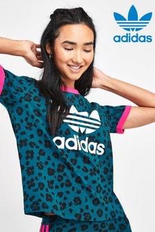 adidas Originals Teal Leopard Trefoil T-Shirt
