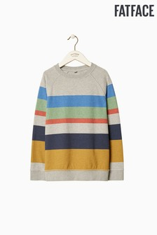 FatFace Grey Stripe Crew Neck Sweat
