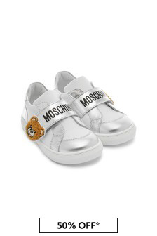 Moschino Kids Girls Silver Leather Trainers
